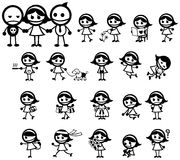 Miss Girly expression and activity icon collection set Royalty Free Stock Image