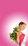 Miss Gymnasium. Standing with the ribbon and white roses on a pink background stock photos