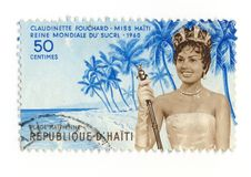 Miss Haiti 1960 stamp. An haitian stamp celebrating the beauty contest won by the beautiful miss Haiti 1960, Miss Claudinette Fouchard stock image