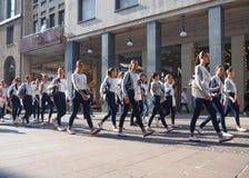Milano, Italy: 10 september 2018: Miss italia models walking in Milan stock photo