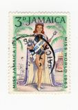 Miss Jamaica 1963 stamp. A Jamaican stamp celebrating the World beauty contest 1963 won by the beautiful miss Jamaica Stock Images