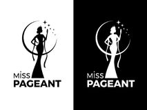 Miss lady pageant logo sign with queen wears evening gown and crown and star vector design Vector Illustration