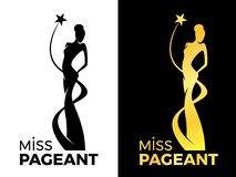 Miss lady pageant logo sign with queen wears evening gown and star around lady queen vector design vector illustration