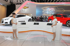 Miss Manners. Beijing China April 27,Miss Manners in Auto china 2012 exhibition hall Stock Images