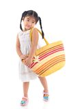 Miss Modesty. Isolated image of a little modest girl against white background Stock Photography