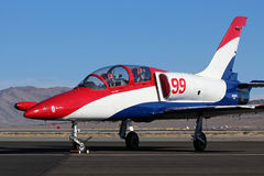 Miss Mona. L-39 Miss Mona sits on the ramp in between races at the Reno Air Race. Miss Mona is piloted by Darryl Christen Royalty Free Stock Photos