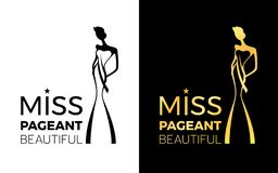 Miss pageant Beatiful logo sign with woman wear a crown and sash sign vector design vector illustration