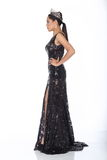 Miss Pageant Contest in Evening Ball Gown long ball dress with D. Full Length of Miss Pageant Contest in Black Sequin Evening Ball Gown long dress with Diamond Stock Photography