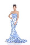 Miss Pageant Contest in Evening Ball Gown long ball dress with D Royalty Free Stock Image