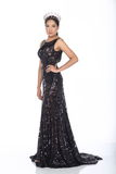 Miss Pageant Contest in Evening Ball Gown long ball dress with D. Full Length of Miss Pageant Contest in Black Sequin Evening Ball Gown long dress with Diamond Stock Photo