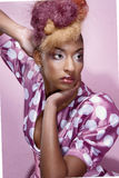 Miss provocative. High fashion model photographed with funky hair style Royalty Free Stock Photo