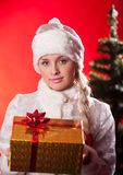 Miss santa claus with christmas present Stock Photos