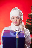 Miss santa claus with christmas present Royalty Free Stock Images