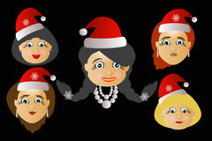 Miss Santa Claus head icon several different lot button key to press  click will be on a black background. Miss Santa Claus head icon several different lot Royalty Free Stock Image