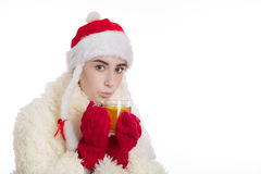 Miss santa with cup Royalty Free Stock Photo