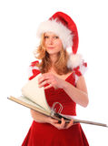 Miss Santa is Doing Paper Work Royalty Free Stock Photography