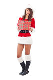 Miss Santa with gift box Stock Photography
