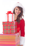 Miss Santa with gift box Stock Images