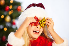 Miss santa having fun Stock Images