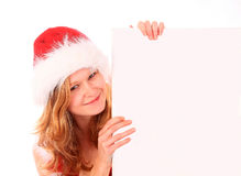 Miss Santa is Holding an Ad Royalty Free Stock Images