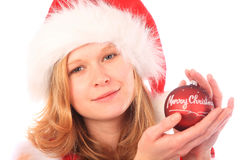 Miss Santa is Holding a Red Christmas Tree Ball Royalty Free Stock Photo