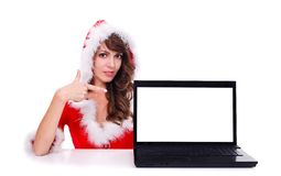 Miss Santa with laptop Stock Photography
