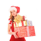 Miss Santa is Losing One Gift Box Stock Photos
