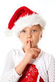 Miss santa says be quiet. Little miss santa says be quiet Royalty Free Stock Photography