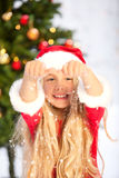Miss santa with snow Royalty Free Stock Image