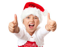 Miss santa thumb up and shouting Stock Photography