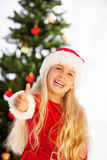 Miss santa thumbs up Stock Photography