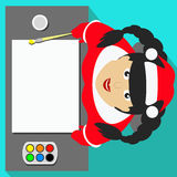 Miss Snow Maiden Santa Claus view from above draws on a white sheet for writing brushes and paints the text, banner illustration i. Miss Snow Maiden Santa Claus Stock Photos