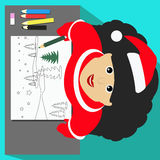 Miss Snow Maiden Santa Claus view from above draws on a white sheet for writing text pencils landscape Christmas banner illustrati Royalty Free Stock Image