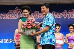 Miss Songkran 2014. Chiangrai, Thailand - April 13, 2014: The winnner is receiving award for Miss Songkran Beauty Contest 2014 Stock Photo