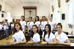Miss Supranational Thailand 2017, Camping Trip and Activity. Phuket, Thailand - August 28, 2017 ; Miss Pageant Contest `Miss Supranational Thailand 2017` royalty free stock image