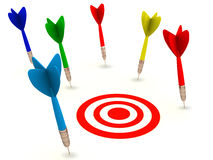 Miss the target. Darts missing their target and falling away in different places on white surface while non hit the red target Stock Images