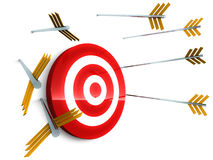 Miss target. Arrows missing the red target and hitting against the white wall instead, concept of missing deadlines, targets, and deviating from objectives Stock Photo