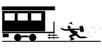 Miss the train. Running businessman missed the train. Miss the opportunity stock illustration