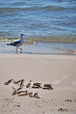 Miss you message in sand  Royalty Free Stock Photos