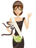 Miss Universe. Pretty Caucasian Brunette Woman With Green Eyes, Wearing A Brown Gown, Tiara And Miss Universe Sash, Carrying A Bouquet And Waving Stock Images
