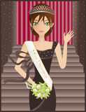 Miss Universe. A Brunette Caucasian Woman Wearing A Brown Dress, Tiara And Sash, Waving And Carrying A Bouquet While Accepting Her Title royalty free illustration
