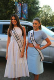 Miss Universe 2014 Gabriela Isler from Venezuela and Miss USA 2014 Nia Sanchez from Nevada at the red carpet before US Open 2014 Royalty Free Stock Image