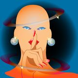 Miss Universe. Girl with earrings - Globe vector illustration