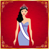 Miss Universe and red background,vector design Stock Images