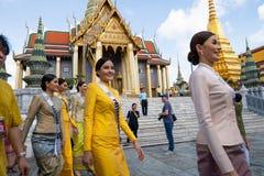 Miss Universe Thailand 2019, visit tour camping royalty free stock image