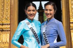 Miss Universe Thailand 2019, visit tour camping royalty free stock photography