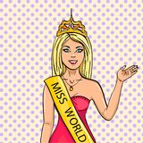 Miss the world of beauty. The girl, the winner of the contest of models. raster, pop art. The imitation of the comic royalty free illustration