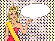 Miss the world of beauty. The girl, the winner of the contest of models. Vector, pop art. Comic style. Text bubble. Miss the universe, the world of beauty. The Royalty Free Stock Photos