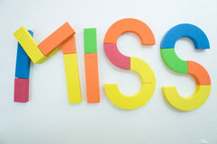 Miss word colorful english passion concept Stock Images