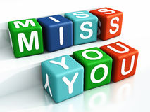 Miss you. Words in colored blocks, white background vector illustration